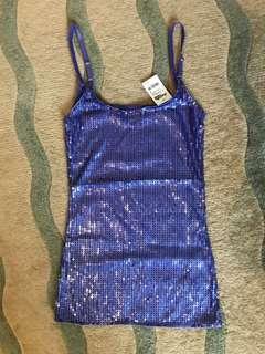 Women purple sequins top