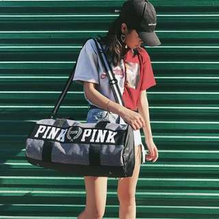 Duffel bag kpop jpop korean japanese ulzzang workout gym travel big huge sling shoulder hand waterproof yoga equipment stylish fashionable sports large duffle office Carry pink