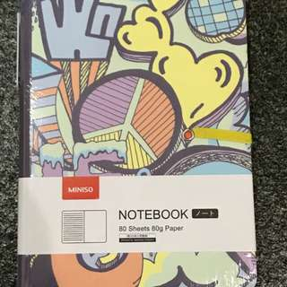Miniso grafitti yellow notebook with pen