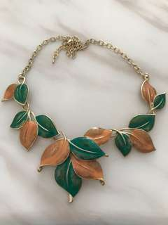 Leaves Green and Orange Statement Necklace with Gold hardware