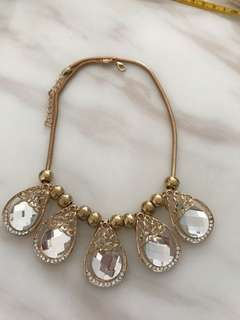Pearl Drop Crystal Statement Necklace with Gold chain