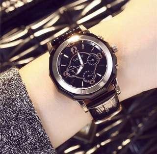 ♥️特價包郵♥️古歐潮流時尚 防水 復古大氣大錶盤 皮帶手錶韓版