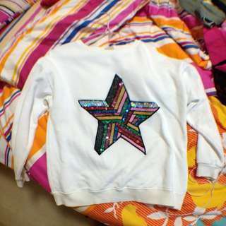 ZARA White Glittery Star Sweater