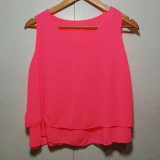 Neon Pink Chiffon Top