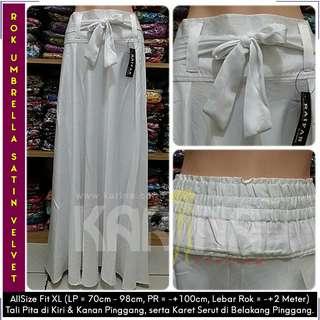 Rok Maxi Skirt Tali / Rok Satin Velvet / Rok Polos Panjang / Rok Lebar / Rok Payung (Putih)