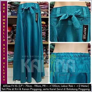 Rok Maxi Skirt Tali / Rok Satin Velvet / Rok Polos Panjang / Rok Lebar / Rok Payung (Biru Toska)
