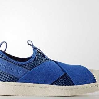 Adidas superstar slip on electric blue