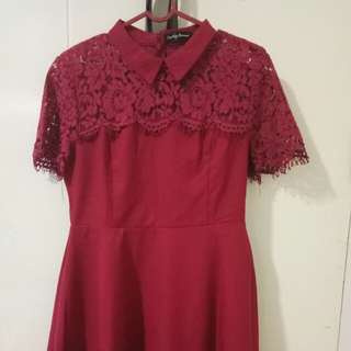 Jual murah preloved red dress ori zalora