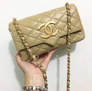 (SOLD)Chanel Vintage 米色羊皮大CC斜孭袋