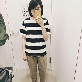 無印良品/寬黑白條紋短袖