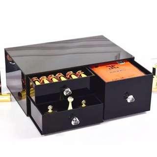 Black acrylic dust-proof Skincare storage box/ Desktop storage cabinets