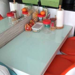 IKEA tampered glass dining table