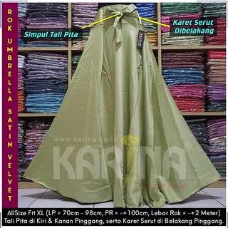 Rok Maxi Skirt Tali / Rok Satin Velvet / Rok Polos Panjang / Rok Lebar / Rok Payung (Green Tea)