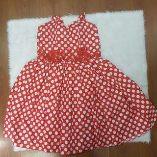 CUSTOMIZED Minnie Polka Dots Red Dress 80s with Padding and Inner