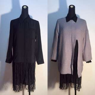 春裝新品🆕下擺蕾絲拼接雪紡襯衫洋裝-S