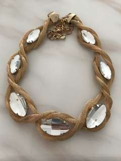 Almond Drop Zirconia Gold Mesh Necklace