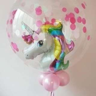 24inch clear balloon with mini unicorn