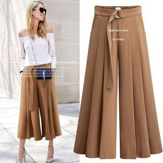 Fashionista Pleated Flare 3/4 Pants (M-3XL)