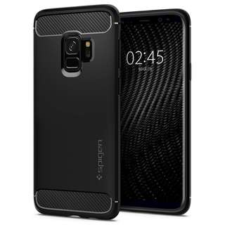[IN-STOCK] Spigen Rugged Armor Galaxy S9 & S9 Plus Case with Flexible and Durable Shock Absorption with Carbon Fiber Design for Samsung Galaxy S9, S9 Plus (2018) - Matte Black