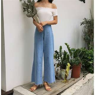 instock!!! light denim jeans culottes pants wide opening