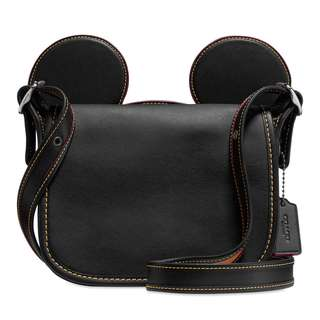 Authentic Coach Disney LImited Mickey Mouse Ears Patricia Leather Saddle Bag Black