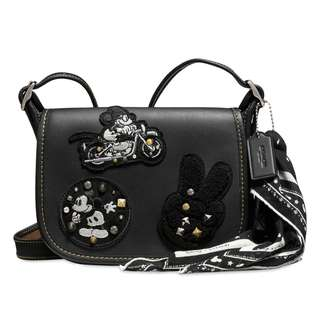 Authentic Coach Disney Limited Mickey Mouse Patch Patricia Leather Saddle Bag Black