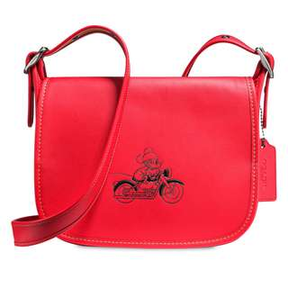 Authentic Coach Disney Limited Mickey Mouse Patricia Saddle Leather Bag Red