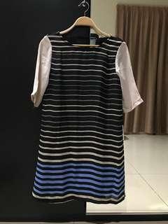 Fleur Striped Pleated Dress (Size S)