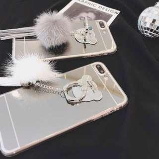 韓國東大門熱賣 毛毛球x鏡面手機殻 超氣質手機外殻 包郵