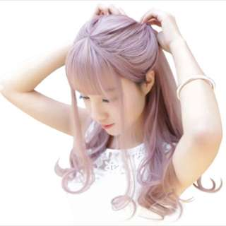 Beautiful Long Hair Wig with Bangs Pink Ash Grey