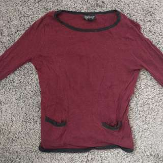 Topshop burgundy 3/4 sleeve top