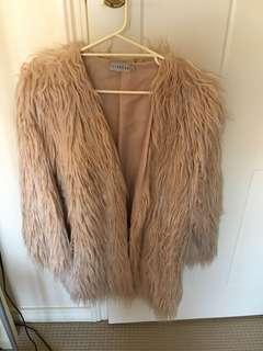 Blush pink faux fur jacket