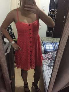 red buttondown lace dress