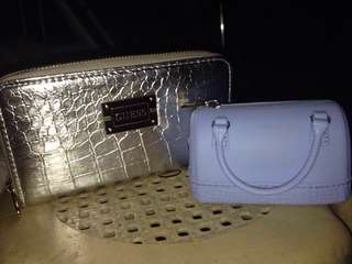 Silver Purse Guess (with Free miniso wallet bag)