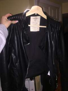 Zara Faux Leather Motto Jacket