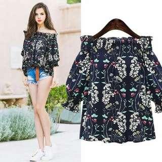 Offshoulder floral blouse