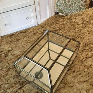 Glass and Brass Curio Box With Lid