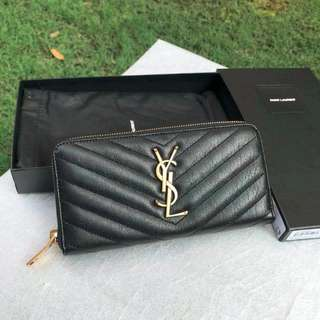 PROMOTION!! YSL MONOGRAM ZIP AROUND WALLET IN DE POUDRE TEXTURED MATELASSÉ LEATHER