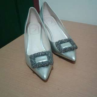 Silver Shoes (with stone glittery design)
