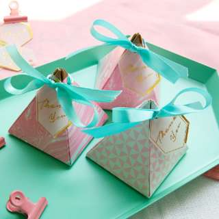 PO Sweet Pink Geometric Marble Pyramid Candy Gift Thank You Box