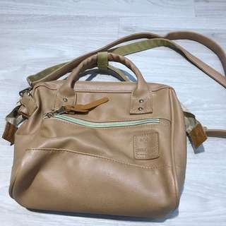 Anello Brown pvc leather sling bag