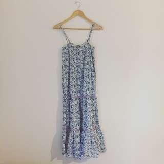 Blue & Lilac Purple Floral Maxi Dress