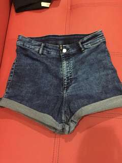 H&M high waisted acid jeans shorts (stretchy)