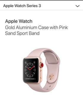 Apple watch series 3 - 38mm (Gold Aluminium Case with Pink Sand Sport Band)