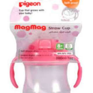 Pigeon magmag straw bottle in pink