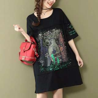 T Shirt Dress Loose Dress (120-200pounds)