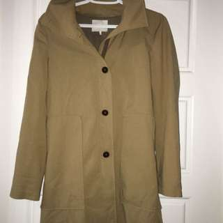 Oak + Fort Trench coat cloak jacket trench beige tan nude camel size s small