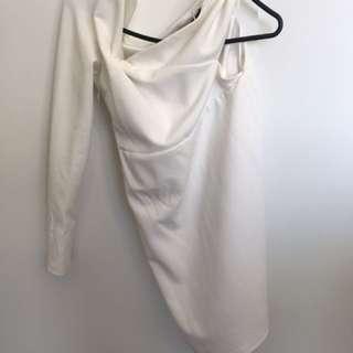 Meshki one sleeve dress in white