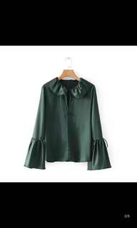 European and American wind lotus leaf design section of silk blouse sleeves straps long-sleeved shirt