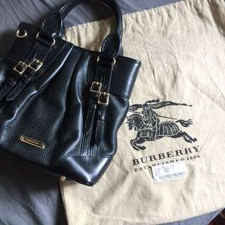 REDUCED! Burberry Black Pebbled Leather Bridle Whipstitch Tote Bag